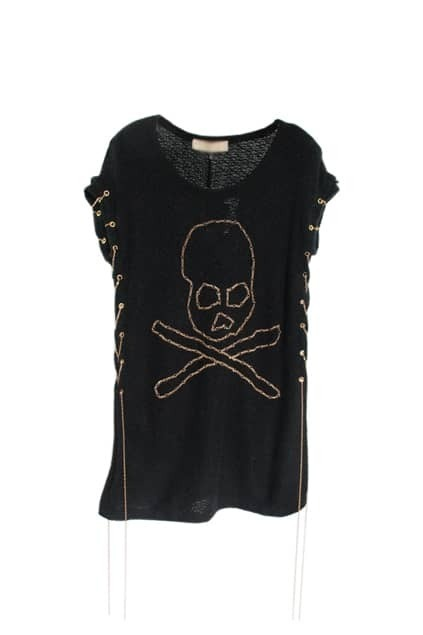 Skull Motif Black Knitted T-shirt