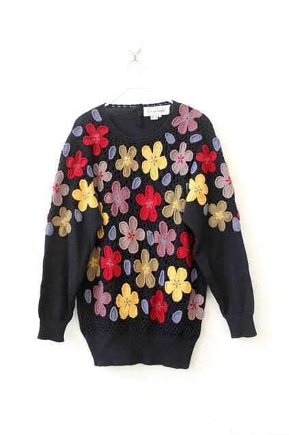 Double Crochet Flowers Jumper