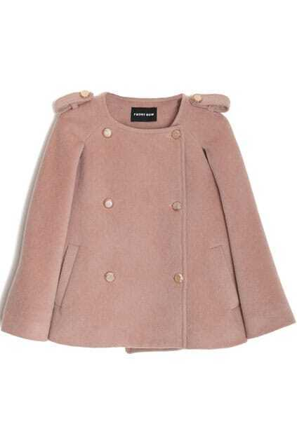 Double Breasted Short Style Pink Cape