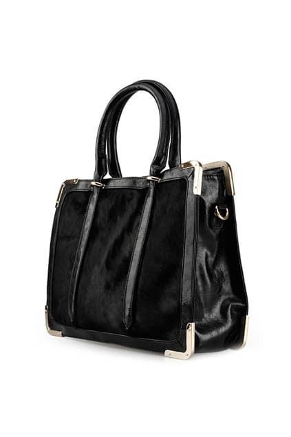 Horse Hair Detailing Black Bag
