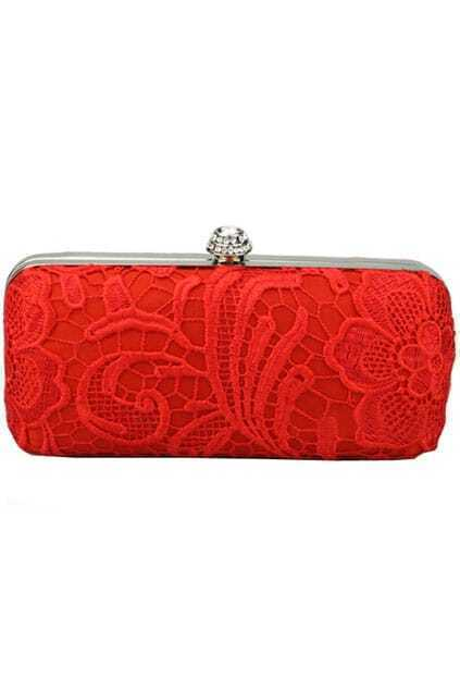 Overlay Lace Red Clutch