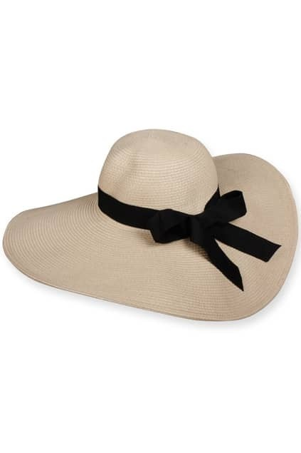 Black Bowknot Beige Cartwheel Hat