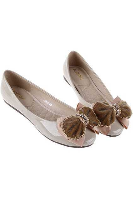 Bowknot Patent Leather Apricot Shoes