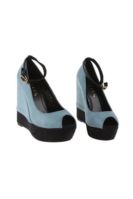 Blue Peep Toes Platform Sandal