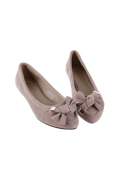 Bowknot Apricot Flat Shoes