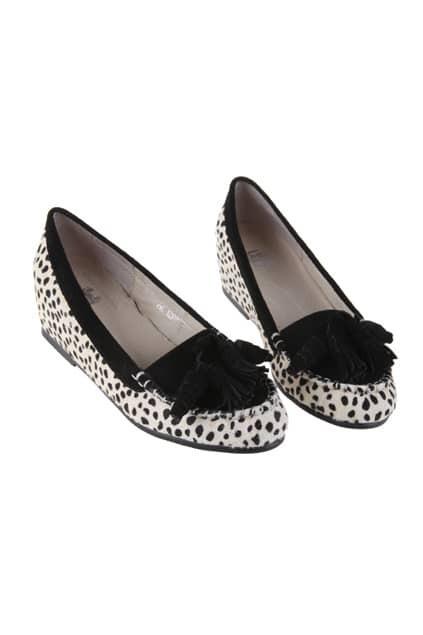 Leopard Tassel Black-white Platform Shoes