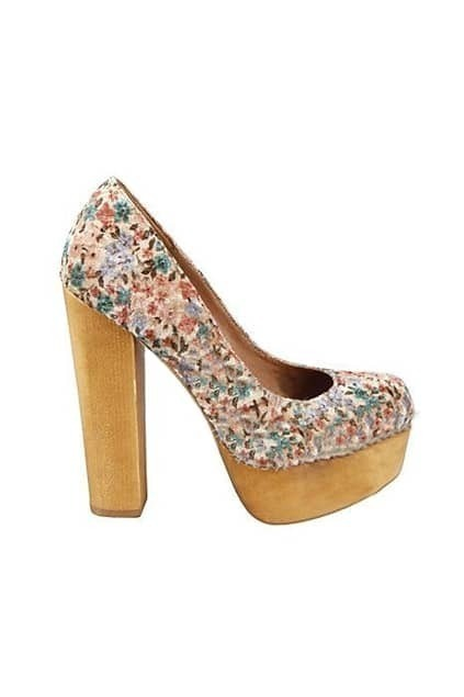 Floral Print Chunky Heeled Shoes