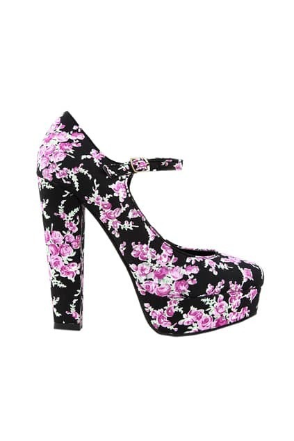 Floral Print Heeled Shoes
