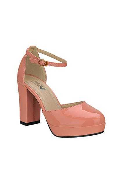High Block Heel Pink Shoes