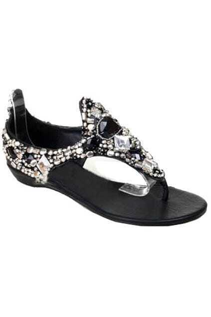 CZdiamond Studded Black Flat Sandals