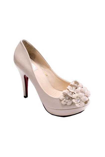 Peep Toe Beige Court Shoes