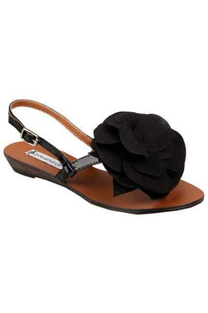 Black Flower Tribal Sandals