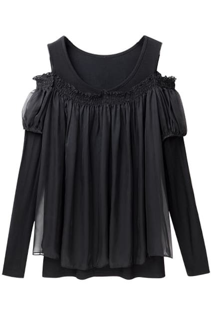 Off Shoulder Black Blouse