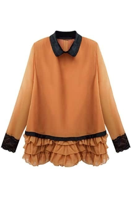 Falbala Hem Orange Blouse