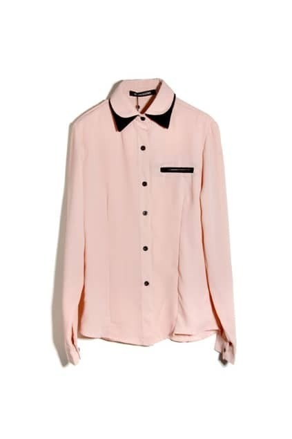 Contrast Color Pink Shirt
