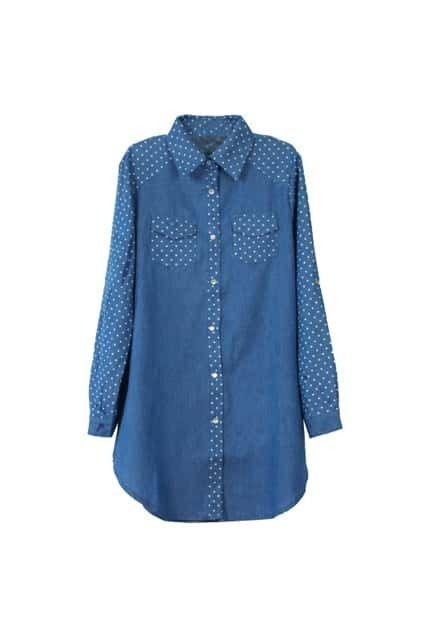 Dots Print Blue Shirt