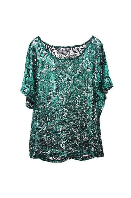 Loose Style Green Lace Blouse