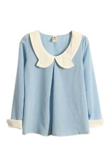 Retro Neckline Light Blue Chiffon Top