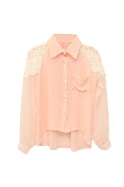 Montage Lace Sleeves Pink Shirt