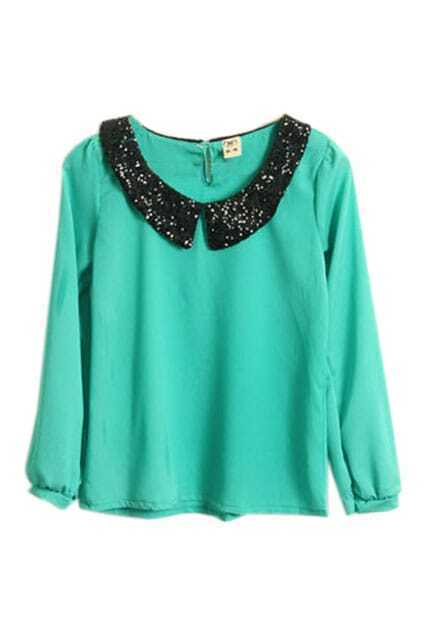 Paillette Collar Blue Green Chiffon Top
