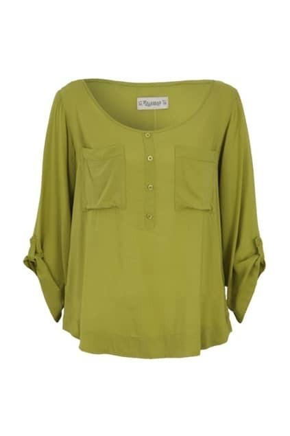 Brief Style Asymmetric Hem Fruit-green Shirt