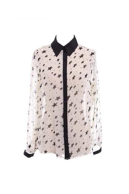 Contrast Stars Print White Chiffon Shirt