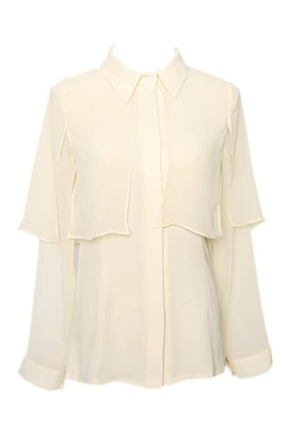 Semi Sheer Caped Apricot Shirt