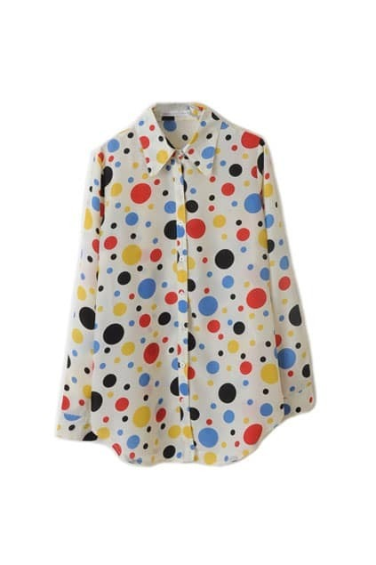 Colorful Dots Print Cream Shirt