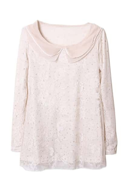 Peter Pan Collar Cream Lace Blouse