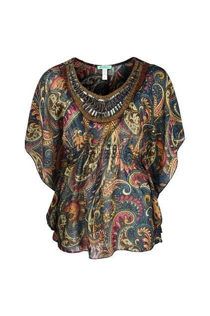 Beaded Collar Floral Batwing Blouse