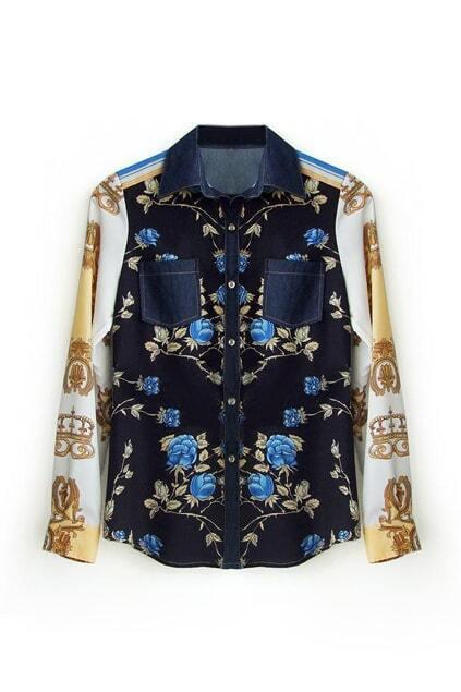 Feminine Floral Print Shirt