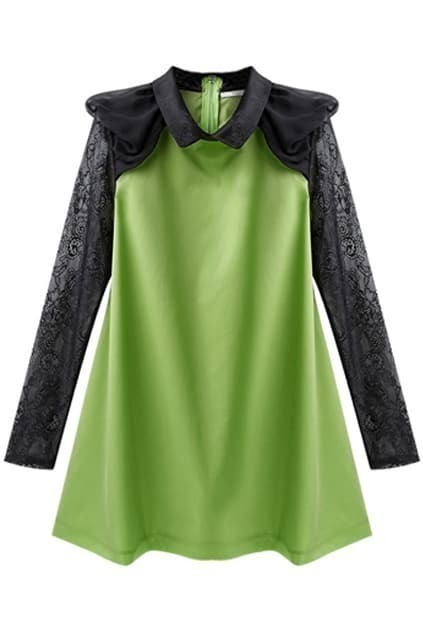 Lace Sleeves Green Shift Dress