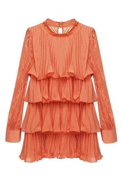 Montage Lace Sleeves Orange Dress