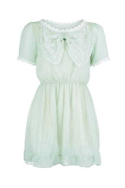 Bowknot Pastel Green Mesh Dress