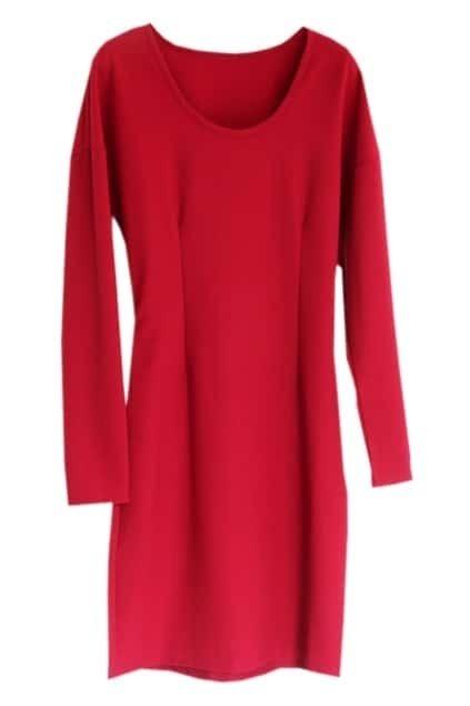 Slim Dark Red Dress