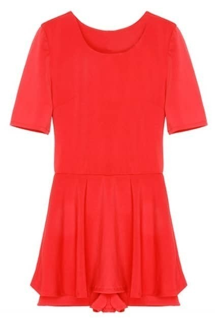 Falbala Hem Red Shift Dress