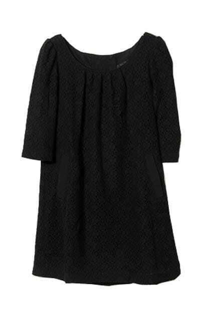 All Over Lace Black Shift Dress
