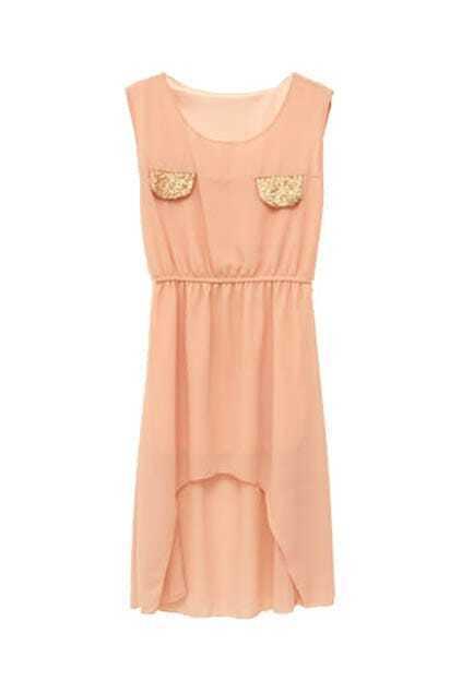 Anomalous Lower Hem Pink Dress