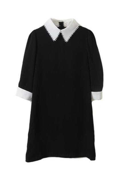 Contrast Sawtooth Lapel Black Dress