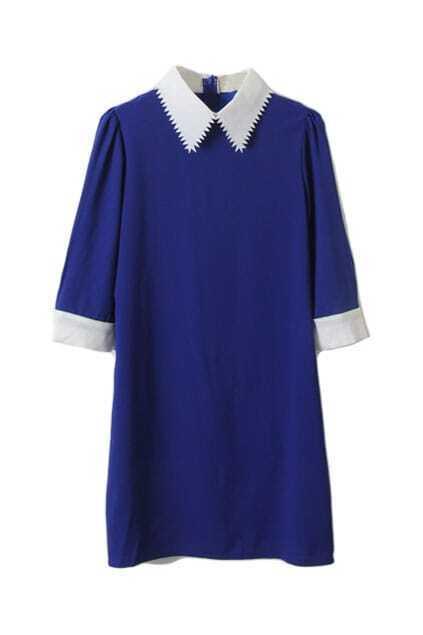 Contrast Sawtooth Lapel Blue Dress