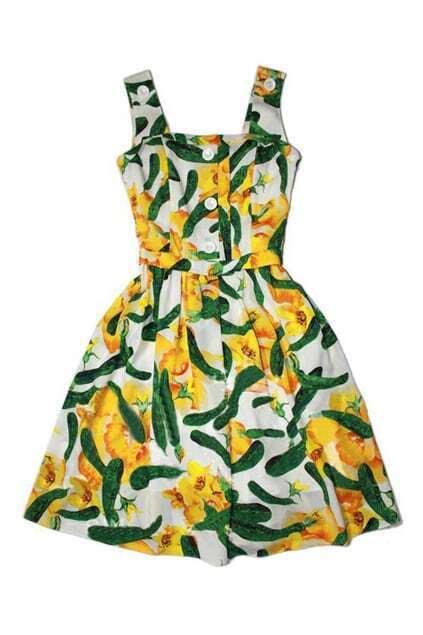 Feminine Cucumber Print Tank Dress