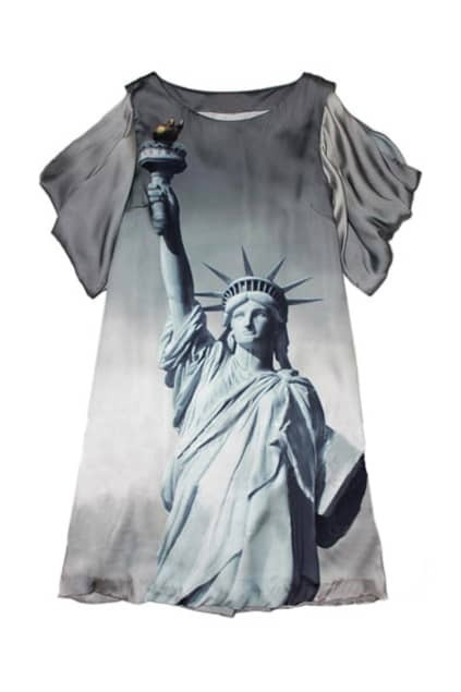 Statue Of Liberty Print Grey Dress