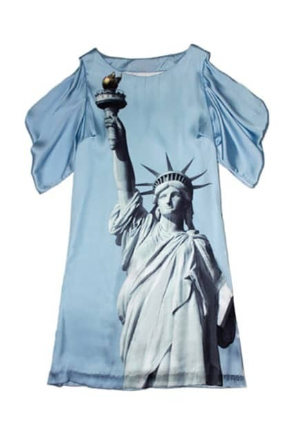 Statue Of Liberty Print Blue Dress