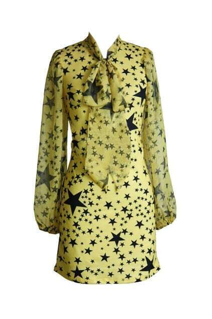 Stars Print Bowknot Yellow Shift Dress