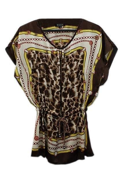 Leopard Drawstring Batwing Silk Dress