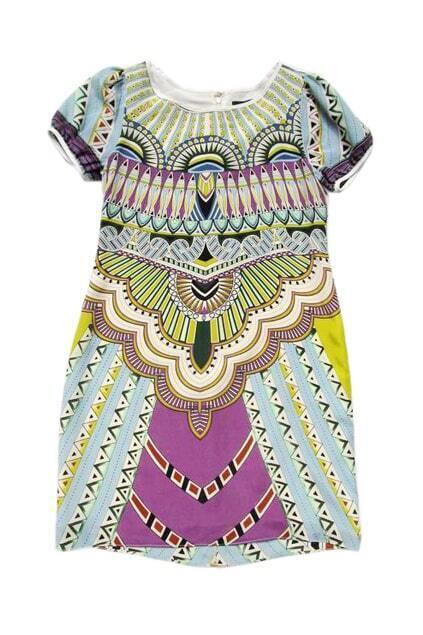 Feminine Patterning Short Sleeves Dress