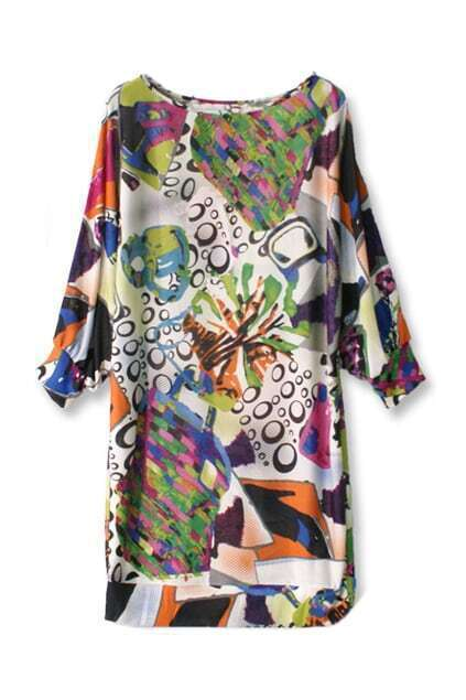 Floral Dropped Silk Shift Dress