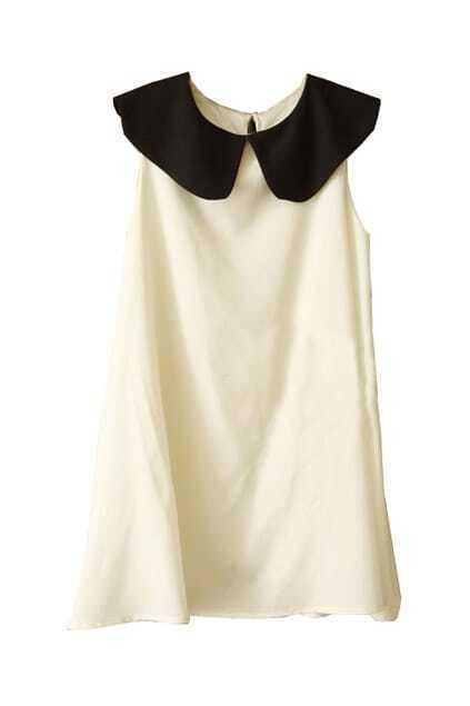 Preppy Look  Sleeveless Slim White Dress