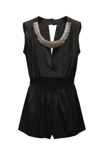 Beaded Collar Backless Black Jumpsuit