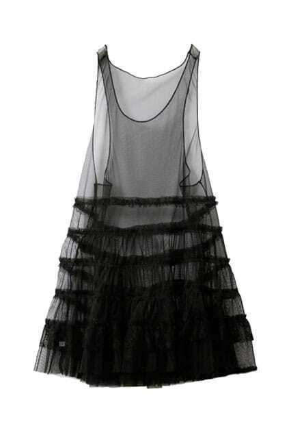 Sheer Mesh Black Tank Dress